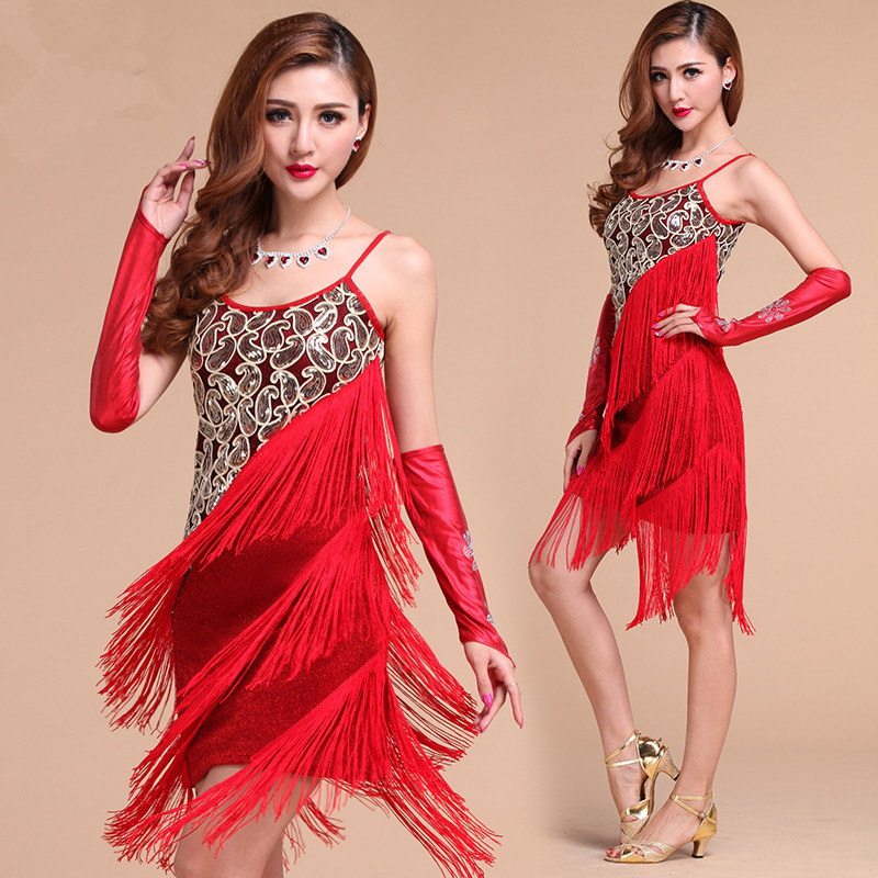 New style latin performance wear Sling Sequin latin dance costume Tassels dancing clothing dress S/M/L/XL 3 colors Одежда и ак�е��уары<br><br><br>Aliexpress