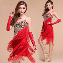 Buy New style latin performance wear Sling Sequin latin dance costume Tassels dancing clothing dress S/M/L/XL 3 colors for $26.08 in AliExpress store