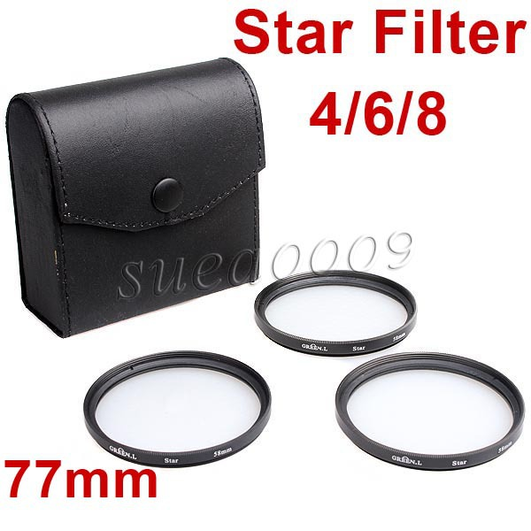 77mm 77 Star Filter 4 6 8 Point line Kit with Case Bag for Canon Nikon Pentax Camera F08