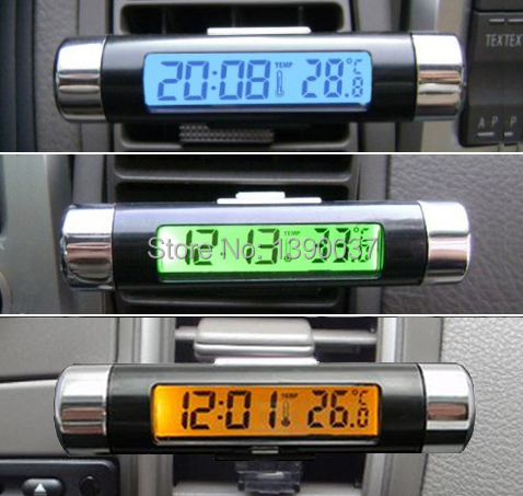 2015 new Practical LCD Car Clock Time Thermometer Digital Automotive clock Backlight Car electronic watch free shipping(China (Mainland))