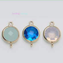 24pcs 12 color Mixed Gold Plated Round Imitation Zircon Glass Faceted Bezel Framed Connector Charm Pendants For DIY Jewelry(China (Mainland))