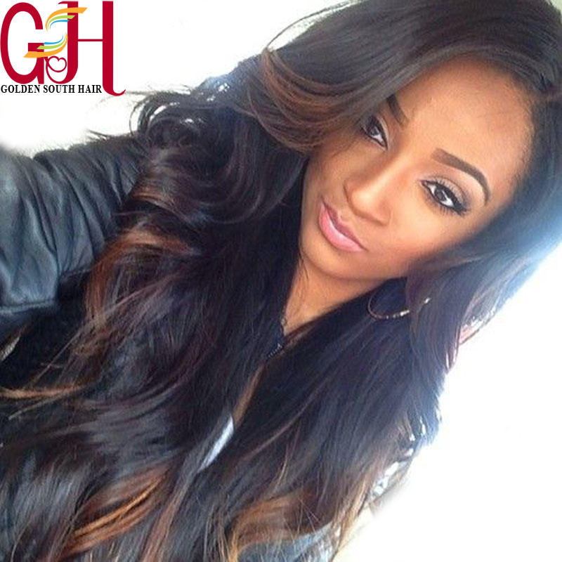 Beautiful body wave ombre wigs two tone brazilian glueless full lace human hair wigs/lace front wig for black women baby hair