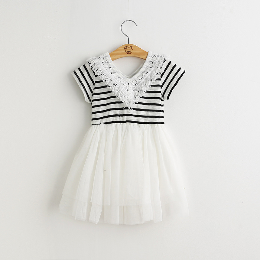 2016 New Baby Girl Clothes Fashion Tassel V-Neck Dress Little Girls Striped Princess Party Dresses Kids Clothes Wholesale YS(China (Mainland))