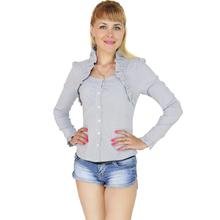 BFDADI Женсие Большой размер 3XL топы 2016 дамы полосатые блузки воротник рубашки с длинным рукавом модная майка 9267(China (Mainland))