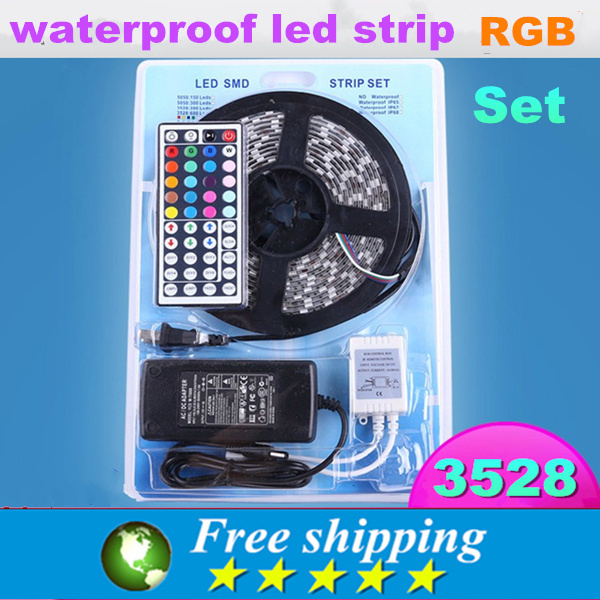 Home decoration,High quality 12V 3528 5 meters waterproof light strip + power adapter, 60 leds / Meter,RGB Remote Control,(China (Mainland))