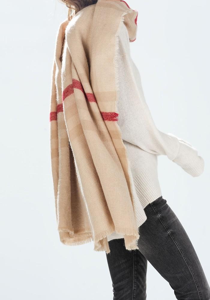 Warm British Beige Stria Knit Unisex Pashmina Scarf Famous Brand Large Scarves Girls Fashionable Wrap Blanket Stoles Scarves(China (Mainland))