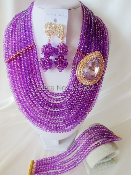 Fashion with Flower Purple Crystal Beads Necklaces Bracelet Earrings Nigerian African Wedding Beads Jewelry Set  CPS-2629<br><br>Aliexpress