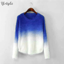 New Fashion 2015 Women Elegant Gradient Color Knitted Mohair Sweaters And Pullovers Ladies Warm Autumn Winter Knitwear SW10(China (Mainland))