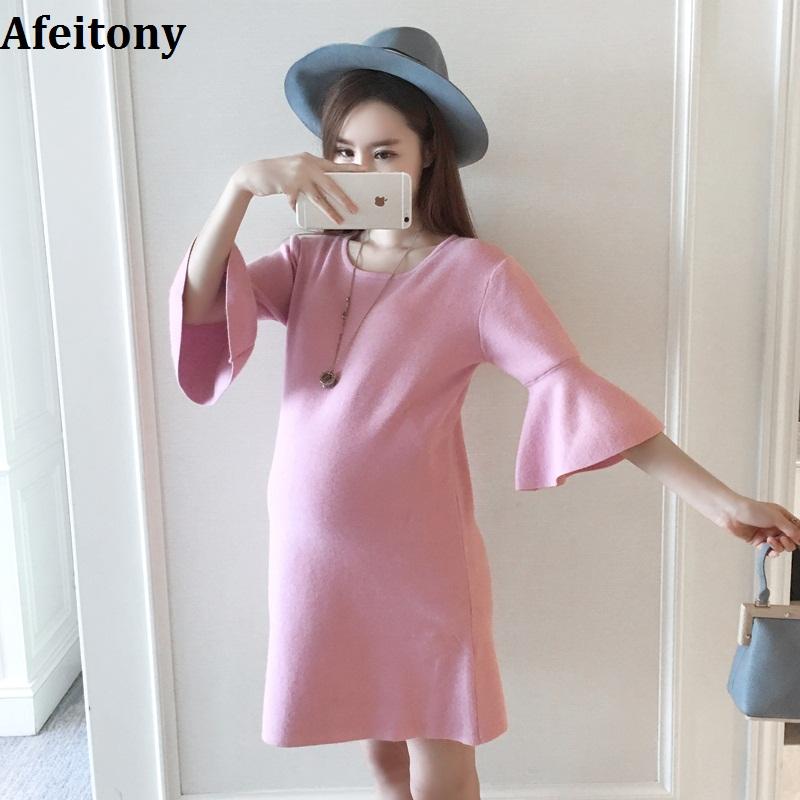 Afeitony Maternity clothes 2017 Maternity sweater dress medium-long spring autumn basic shirt flare sleeve Women maternity(China (Mainland))