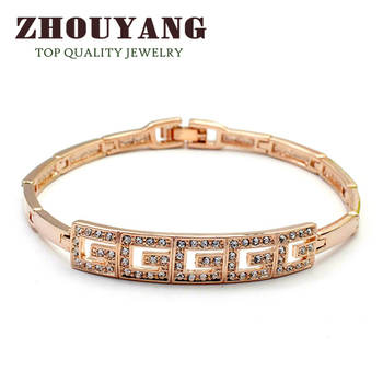 Top Quality 18K Rose/White Gold Plated Bracelet Jewelry Made with Genuine Austrian Crystals CZ Wholesale ZYH034 ZYH033