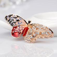 Kanan kiri Enamel Berongga Out Sayap Warna Logam Emas Hitam Merah Kupu-kupu Serangga Bros untuk Wanita Bros Pins Perhiasan Aksesoris(China)