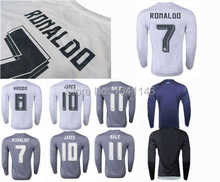 Top!Best thai quality 15 16 Real Madrid long sleeve Jerseys 2015 2016 Ronaldo ALONSO Isco bale JAMES RAMOS Full sleeve shirts(China (Mainland))