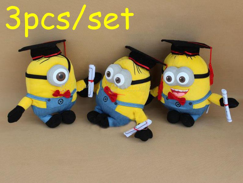 "3pcs / set, graduation gift , Despicable ME Movie Plush Toy 8"" 25cm Minion Jorge Stewart Dave, toy cushion Dolls for 2 minion(China (Mainland))"