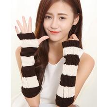 1pair hand knitting yarn Cute twist stripe contrast color long half-finger gloves (C036)(China (Mainland))
