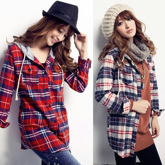 Classic Check Print Drawstring Womens Hooded Button Down Shirt Blouse Top Pocket(China (Mainland))