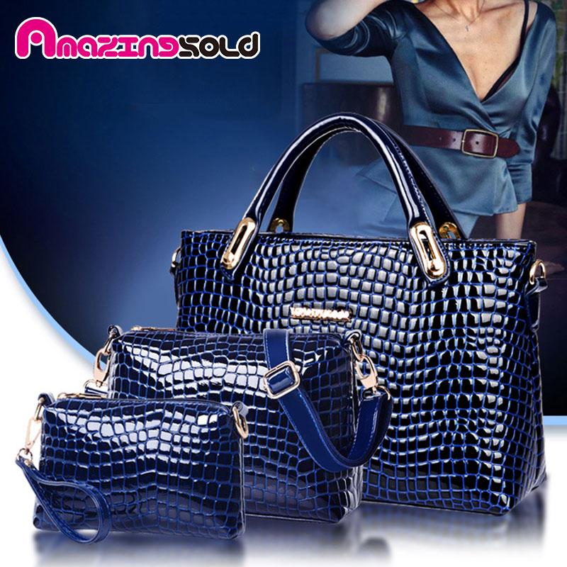 Здесь продается  Luxury Alligator Women Bags Designer Handbags High Quality Pu Leather 3Set/Pcs Totes + Messenger/Shoulder Bags + Cluthes Bolsas   Камера и Сумки