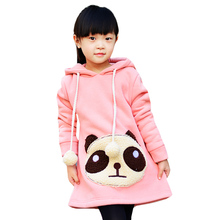 2016 new autumn & winter big kids clothing children hoodies outerwear cartoon kids thickening  long pullover girls coat(China (Mainland))