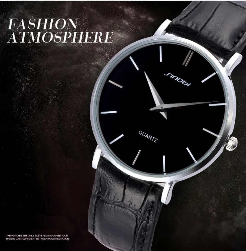 2015 New Luxury SINOBI Watches Male Leather Strap Watch Men Fashional Ultra thin Quartz Analog Waterproof