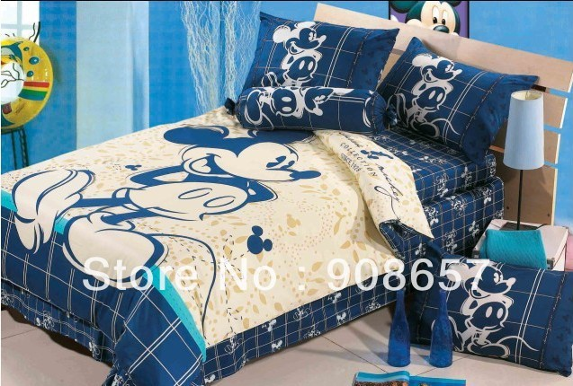 blue beige mickey mouse character bedding twin full queen king size comforter cotton quilt duvet covers bed in a bag sheets set(China (Mainland))