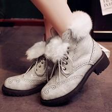 Cuero genuino botas para mujer nuevo otoño invierno corto nieve botas con cordones botas de cuero solo zapato pelo de conejo Martin femeninos(China (Mainland))