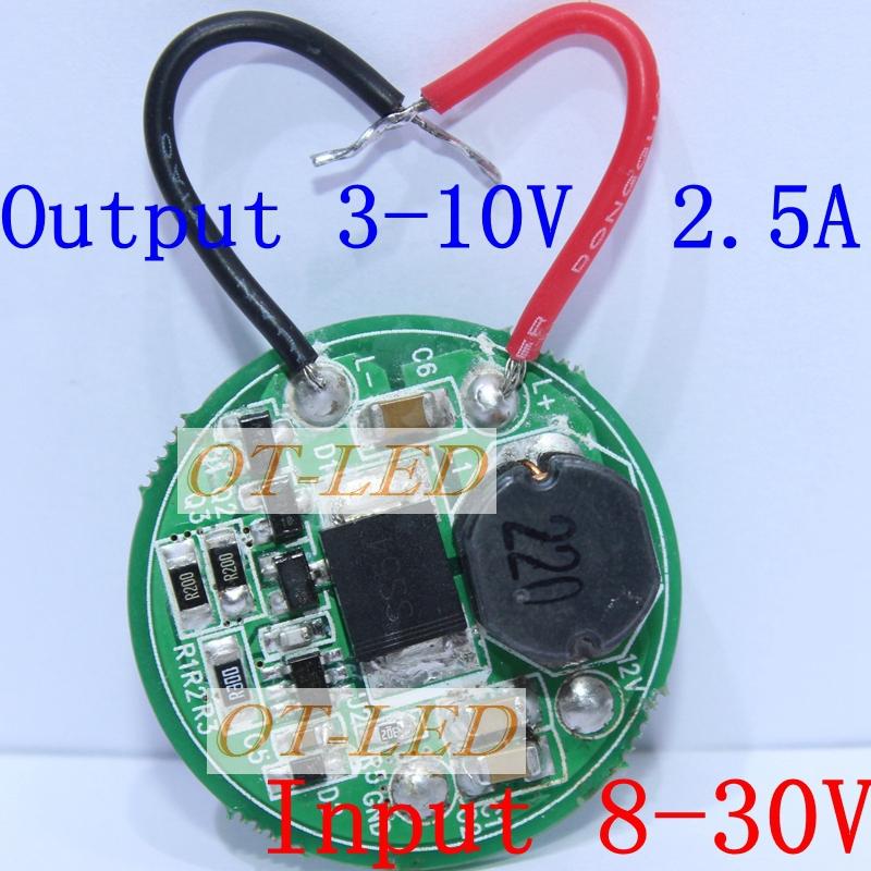 2pcs 1 Mode Constant Current Led Driver Output 3V-10V Input 8V~30V For 1pcs/2pc/3pcs*XML XML2 for CAR motorcycle boat Light DIY(China (Mainland))