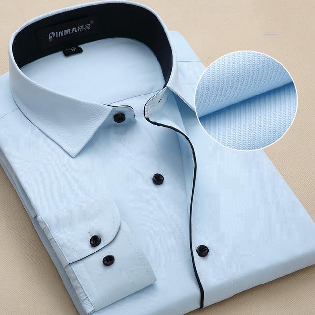Мужские рубашки с длинным рукавом мужские саржа свободного покроя рубашки бизнес ...