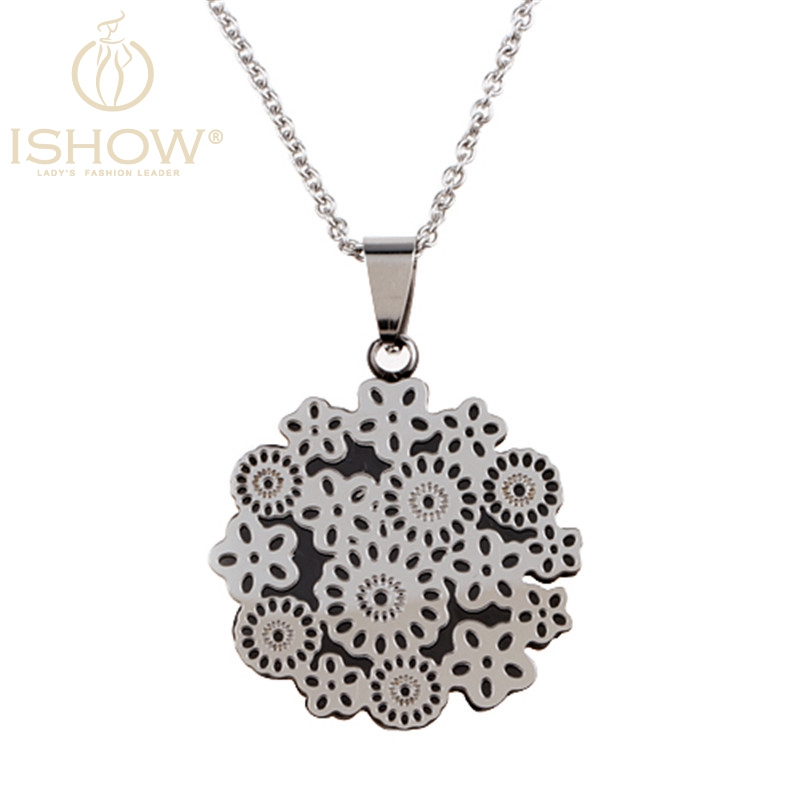 2016 I SHOW maxi necklace Stainless steel fine flower type necklace vintage accessories women pendant Long necklace(China (Mainland))