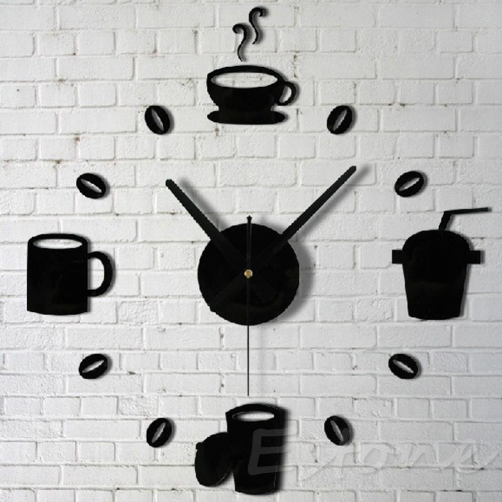 F85 Free Shipping 3D Acrylic Mirror Style Coffee Wall Clock Sticker Fashion DIY Modern Design(China (Mainland))