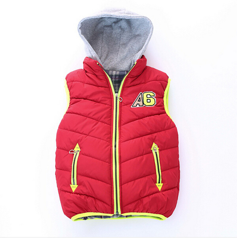 6-10Age children's autumn and winter vest waistcoat 2015 new warm cotton hooded vest for boy kids outwear coat 4 Colors(China (Mainland))