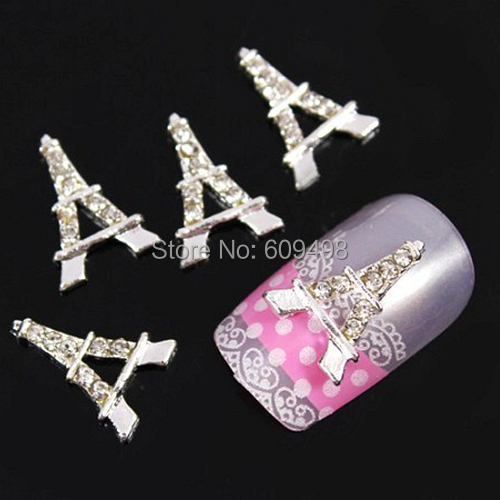 B186 50pcs/lot New Fashion 13mm*9mm Manicure Silver Plated 3D Alloy Decal Eiffel Tower Nail Art Tips Decoration DIY Cell Phone(China (Mainland))