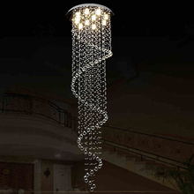 VALLKIN Ceiling Chandeliers Pendant Lamp Beautiful Spiral Design Luxury Large Crystal Staircase Hotel Hallway Fixtures(China (Mainland))