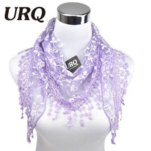 2016 Brand luxury fashion Summer Ladies Lace Tassel Sheer Metallic Women Girls Floral Triangle Bandage Floral scarves L10A5108(China (Mainland))