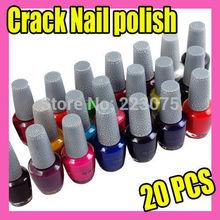 Hot New Nail Art Crack Nail Polish Varnish Set DIY Decoration 20 colors/lot(China (Mainland))