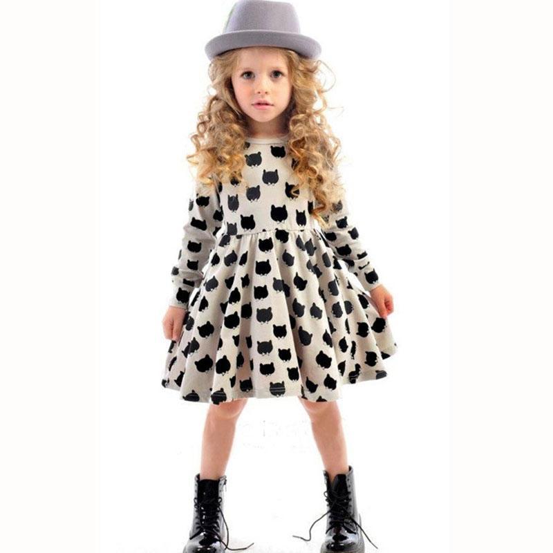 зима осень весна девушка платье животными детей одежду 2015 моды длинный рукав хлопок девушки одежду случайные детской одежды