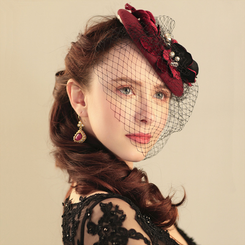 Burgundy Luxury Wedding Hats For Women Cheap Hair Accessories 2017 Vintage Bridal Hats With Pearls In Stock Wedding Hat Veils