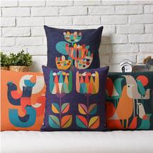 Flowers bird linen cushion pillowcase