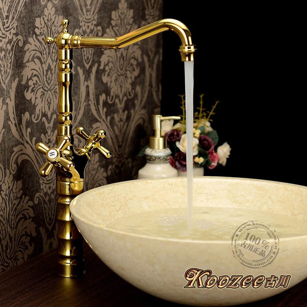 Gu Chuanou retro antique faucet hot and cold faucet gold is pure titanium copper basin faucet stage<br><br>Aliexpress