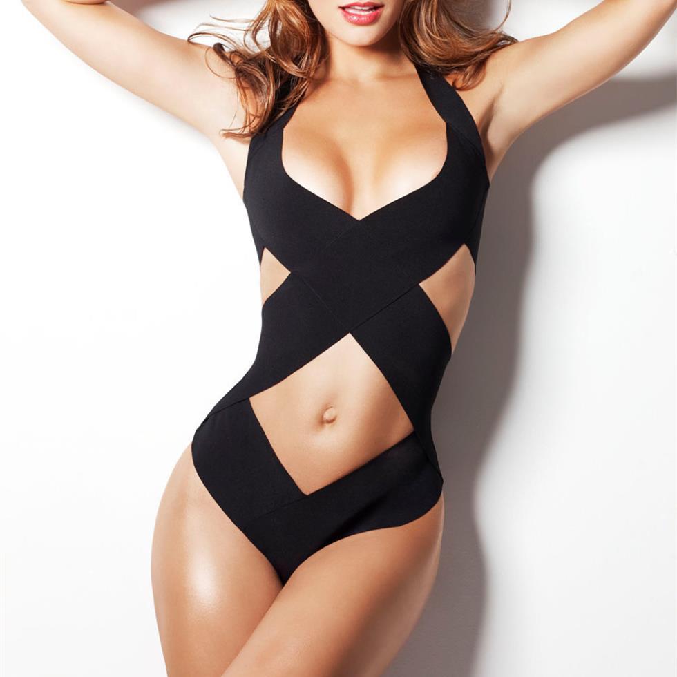 Black Bandage Strappy Sexy One Piece Swimwear Women One piece Swimsuit Bathing Suit Swimsuits Front Wrap Women Moda Praia 2015(China (Mainland))