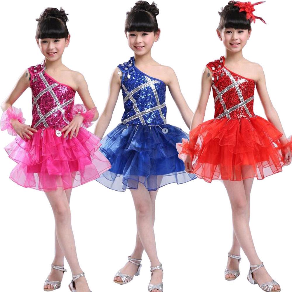 Girl s sequined one shoulder modern jazz dancing dress kid party dance