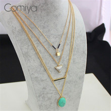 Buy Comiya Aliexpress Brand Blue Marbled Stone Pendant Necklaces Women Multi Layer Necklace Gold Accessories Bijoux Femme for $3.08 in AliExpress store