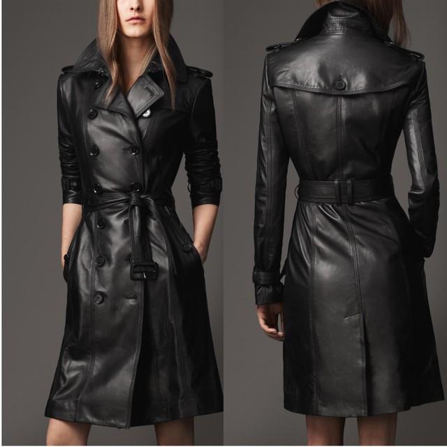 Модный Designer Черный Leather jacket Женщины elegent Длинный Рукав slim Замша jacket ...