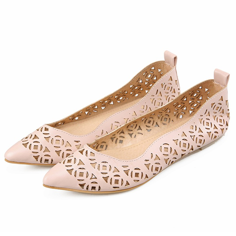 ENMAYDA New Women Fashion Cut-outs Spring and Autumn Flats Shoes Woman 3 Colors Sweet Pink Shoes Slip-on Casual Flats Shoes