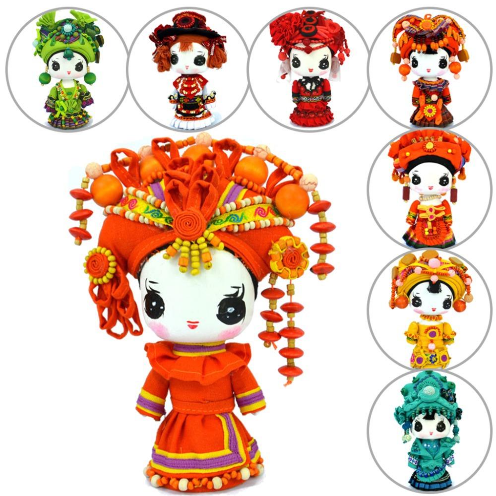 Toys For Minorities : Yunnan national minority ethnic handmade wooden dolls