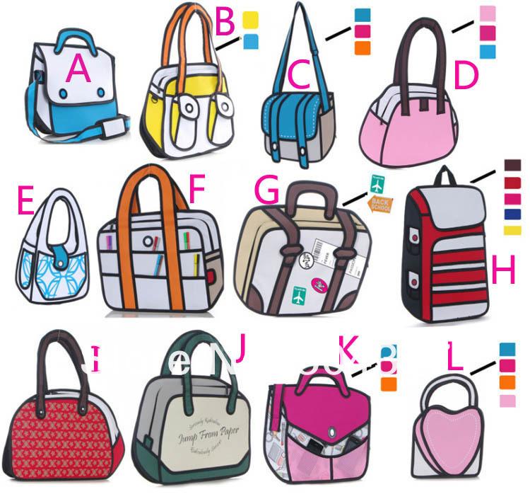 Free Shipping 1Piece 3D Style Gismo Cartoon Bag 2D Drawing Cartoon Bag(China (Mainland))