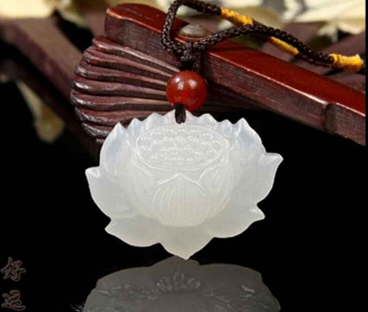 Wholesale price free shipping ^^^^Natural Hand-carved Chinese Hetian Jade Pendant: Lotus Flower -Free Necklace(China (Mainland))