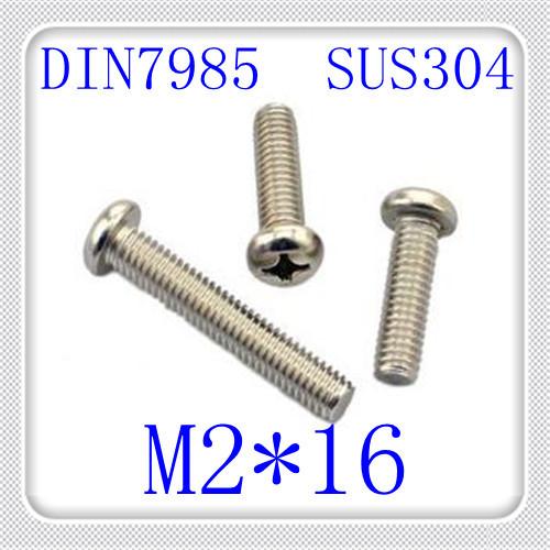1000pcs/lot DIN7985 M2*16 Stainless Steel 304 Pan Head Phillips (Cross recessed pan head) Screw<br><br>Aliexpress
