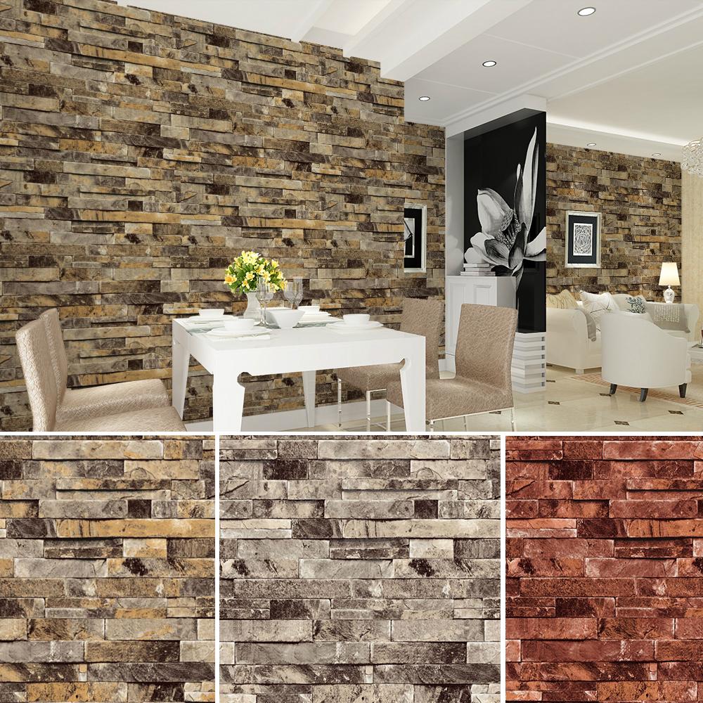 Haok Home PVC Vinyl Modern Faux Brick Stone 3D Wallpaper Living room Bedroom Bathroom Home Wall Decoration,0.53m*10m/roll(China (Mainland))