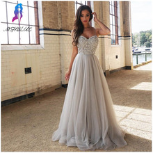 2017 New Design Sliver Rhinestones Prom Dresses Long Party Evening Gown Straps Tulle Beaded Zipper Back Floor Length Maxi Dress(China (Mainland))