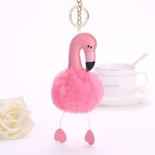 2018 Hot Vender Flamingo Pompom Chaveiro Adorável Fluffy Bola de Pele de Coelho Artificial Animal Pássaro Mulheres Saco Anel Chave Do Carro(China)