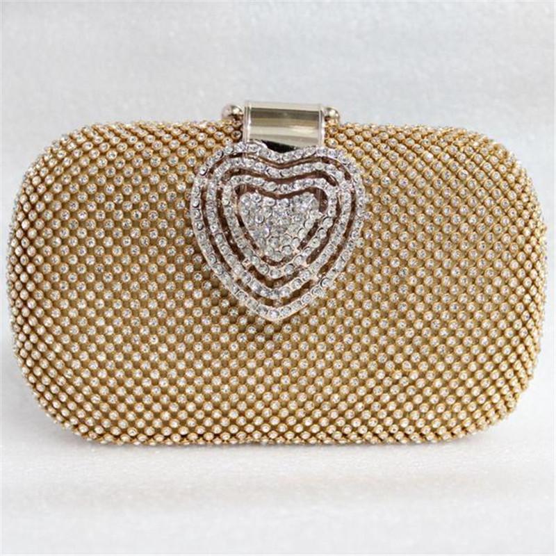 Luxury Bling Full Diamond Mini Evening Clutch Bags Gold Silver Wedding Party Glitter Purses Heart Shape Hasp Chain Handbag 1032t(China (Mainland))